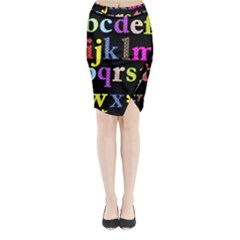 Alphabet Letters Colorful Polka Dots Letters In Lower Case Midi Wrap Pencil Skirt by Simbadda