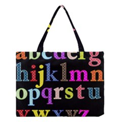 Alphabet Letters Colorful Polka Dots Letters In Lower Case Medium Tote Bag by Simbadda