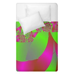 Green And Pink Fractal Duvet Cover Double Side (single Size) by Simbadda