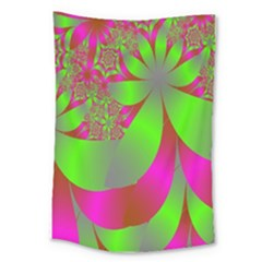Green And Pink Fractal Large Tapestry