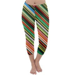 Colorful Stripe Background Capri Winter Leggings