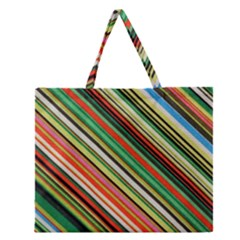 Colorful Stripe Background Zipper Large Tote Bag by Simbadda