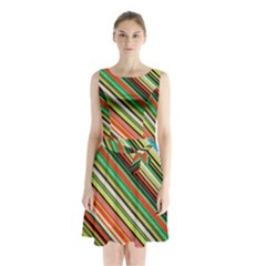 Colorful Stripe Background Sleeveless Chiffon Waist Tie Dress by Simbadda