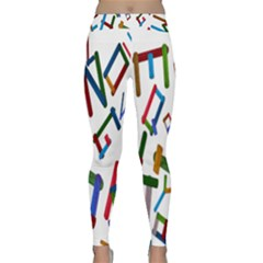 Colorful Letters From Wood Ice Cream Stick Isolated On White Background Classic Yoga Leggings by Simbadda