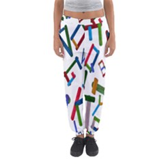 Colorful Letters From Wood Ice Cream Stick Isolated On White Background Women s Jogger Sweatpants
