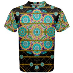 Gold Silver And Bloom Mandala Men s Cotton Tee by pepitasart