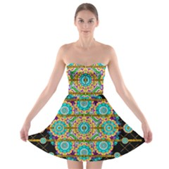 Gold Silver And Bloom Mandala Strapless Bra Top Dress by pepitasart