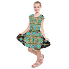 Gold Silver And Bloom Mandala Kids  Short Sleeve Dress by pepitasart