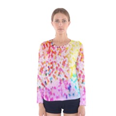 Colorful Colors Digital Pattern Women s Long Sleeve Tee by Simbadda
