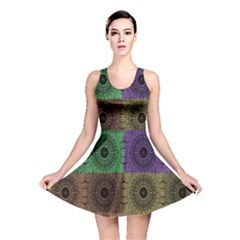 Creative Digital Pattern Computer Graphic Reversible Skater Dress by Simbadda