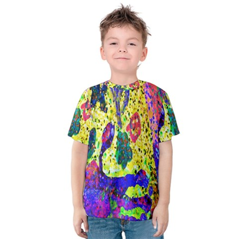Grunge Abstract Yellow Hand Grunge Effect Layered Images Of Texture And Pattern In Yellow White Black Kids  Cotton Tee by Simbadda