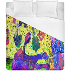 Grunge Abstract Yellow Hand Grunge Effect Layered Images Of Texture And Pattern In Yellow White Black Duvet Cover (california King Size) by Simbadda