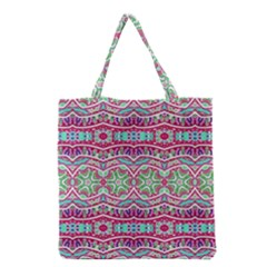 Colorful Seamless Background With Floral Elements Grocery Tote Bag by Simbadda
