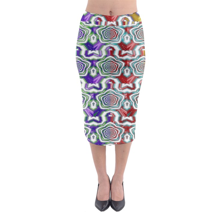 Digital Patterned Ornament Computer Graphic Midi Pencil Skirt