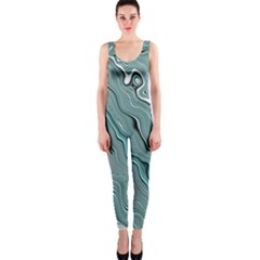 Fractal Waves Background Wallpaper Onepiece Catsuit by Simbadda