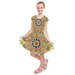 Abstract Geometric Seamless Ol Ckaleidoscope Pattern Kids  Short Sleeve Dress by Simbadda
