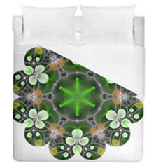 Green Flower In Kaleidoscope Duvet Cover (queen Size)