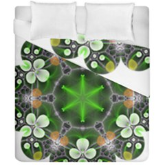 Green Flower In Kaleidoscope Duvet Cover Double Side (california King Size) by Simbadda