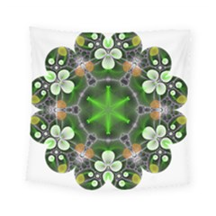 Green Flower In Kaleidoscope Square Tapestry (small) by Simbadda