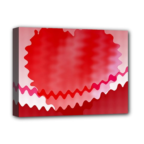 Red Fractal Wavy Heart Deluxe Canvas 16  X 12   by Simbadda