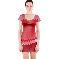 Red Fractal Wavy Heart Short Sleeve Bodycon Dress