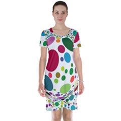 Color Ball Short Sleeve Nightdress