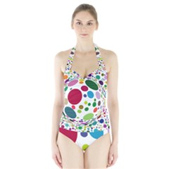 Color Ball Halter Swimsuit