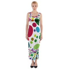 Color Ball Fitted Maxi Dress