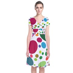 Color Ball Short Sleeve Front Wrap Dress