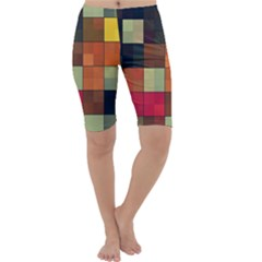 Background With Color Layered Tiling Cropped Leggings  by Simbadda