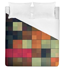 Background With Color Layered Tiling Duvet Cover (queen Size) by Simbadda