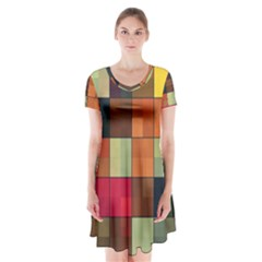 Background With Color Layered Tiling Short Sleeve V Neck Flare Dress