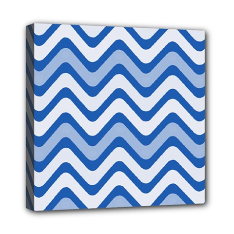 Background Of Blue Wavy Lines Mini Canvas 8  X 8