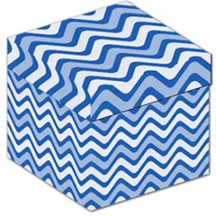 Background Of Blue Wavy Lines Storage Stool 12   by Simbadda