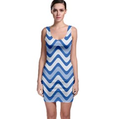 Background Of Blue Wavy Lines Sleeveless Bodycon Dress