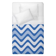 Background Of Blue Wavy Lines Duvet Cover (single Size) by Simbadda