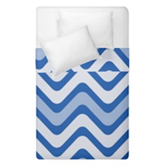 Background Of Blue Wavy Lines Duvet Cover Double Side (single Size) by Simbadda