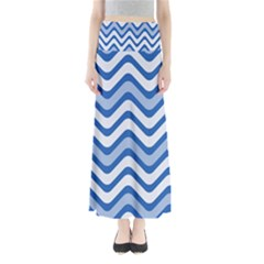 Background Of Blue Wavy Lines Maxi Skirts