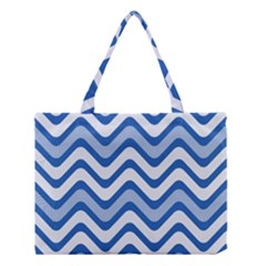 Background Of Blue Wavy Lines Medium Tote Bag by Simbadda
