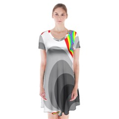 Background Image With Color Shapes Short Sleeve V Neck Flare Dress
