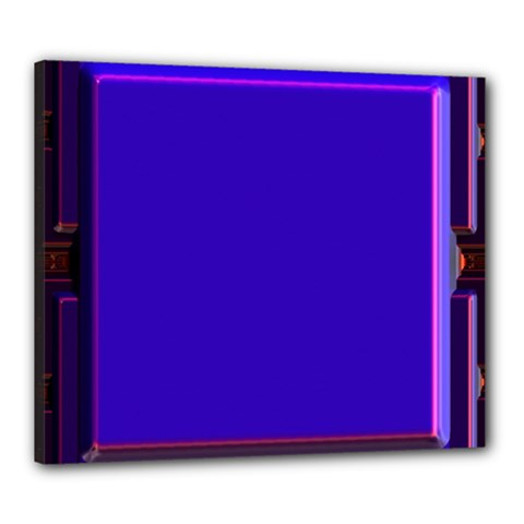 Blue Fractal Square Button Canvas 24  X 20