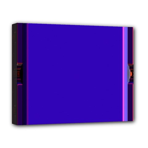 Blue Fractal Square Button Deluxe Canvas 20  X 16   by Simbadda