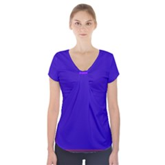 Blue Fractal Square Button Short Sleeve Front Detail Top