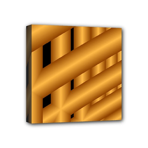 Fractal Background With Gold Pipes Mini Canvas 4  X 4  by Simbadda