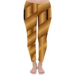 Fractal Background With Gold Pipes Classic Winter Leggings by Simbadda