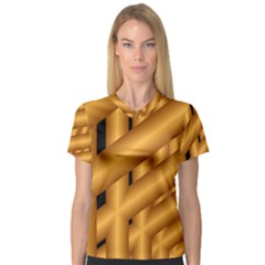 Fractal Background With Gold Pipes Women s V Neck Sport Mesh Tee