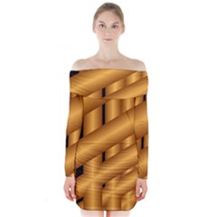 Fractal Background With Gold Pipes Long Sleeve Off Shoulder Dress