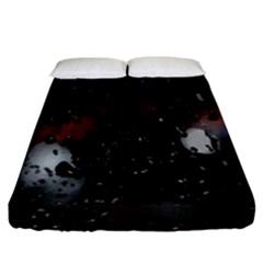 Lights And Drops While On The Road Fitted Sheet (king Size) by Simbadda