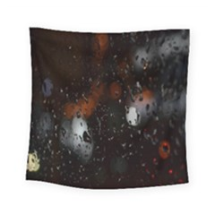 Lights And Drops While On The Road Square Tapestry (small) by Simbadda