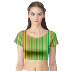 Lines Short Sleeve Crop Top (tight Fit) by Valentinaart